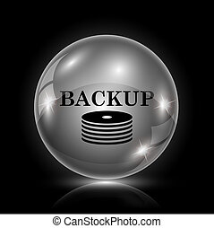 Back-up icon - Shiny glossy icon - glass ball on black...