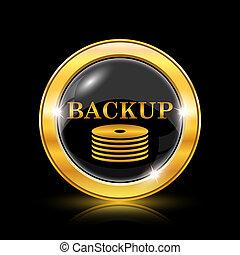 Back-up icon - Golden shiny icon on black background -...