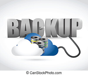 Back up sign connected to a server cloud. illustration...