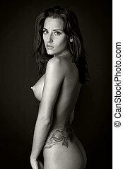 back, van, de, mooi, naakte vrouw, met, tattoo.