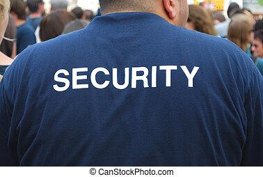 back, van, een, beveiliger, schouwend, een, menigte, van, mensen