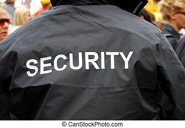 back, van, een, veiligheid, guardd, in, zwart uniform, jas