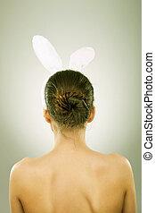 back, van, een, vrouw, met, bunny oren