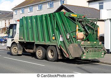 back., verde, cajas, camión, basura