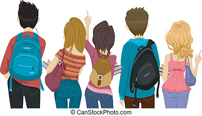College Students - Back View Illustration of College ...