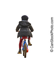 Back View Kid Riding a Bicycle