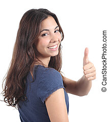 beautiful teen with thumb up