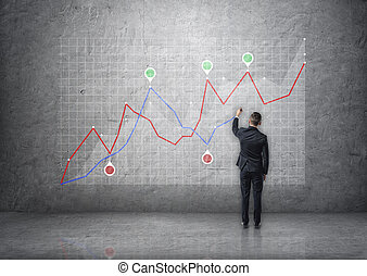 Back view of a businessman drawing rising graph on concrete wall