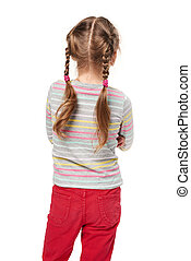 Back view of a child girl standing