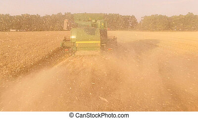 Back view of a combine.