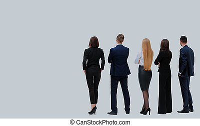 Back view of a Group of business team. Isolated on white background.