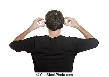 back view of a man with headphone