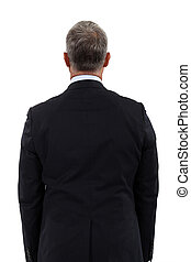 Back view of a mature businessman