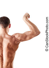 muscular young man showing his biceps