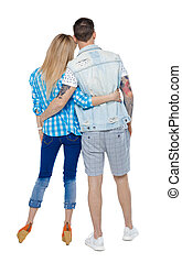 Back view of a stylish couple.