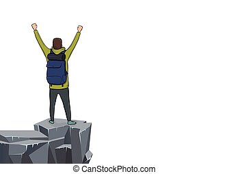 Back view of a young man with raised hands on the edge of the cliff. Mountain hiker, Explorer, mountaineer. A symbol of success. Vector Illustration with copy space on white background.