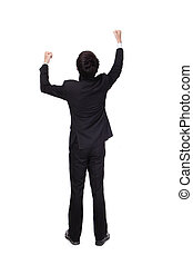 Back view of arms raised business man