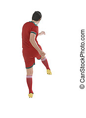 Back view of asian football player kick ball