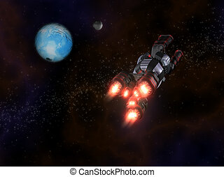 Back view of Black and Red Space Ship in Action in Space