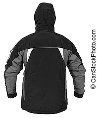 Back view of black male sport jacket with hood isolated on white background