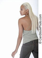 Back view of blond