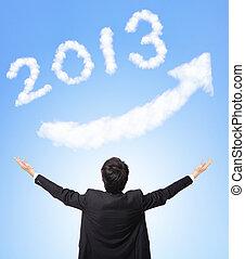Business man hug happy new year 2013