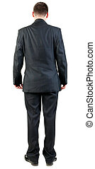back view of business man in black suit  watching.