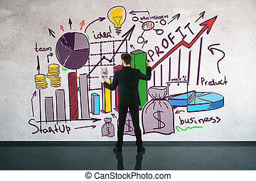 Financial growth concept - Back view of businessman drawing ...