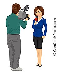 Back view of cameraman recording female journalist or TV...