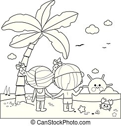 Back view of children at the beach under a palm tree. Vector black and white coloring page