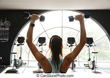 Back view of concentrated sports woman doing exercise with dumbbells