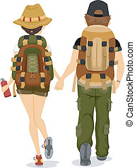 Illustration showing Back View of a Couple wearing Backpacks for Hiking