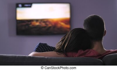 Back view of couple watching plazma TV at night