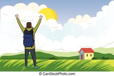 Back view of happy man on the morning walk in the agricultural landscape. A tourist with their hands up, a gesture of success to goals. Vector Illustration.