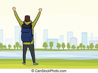 Back view of happy man on the morning walk in the city Park. A tourist with their hands up, a gesture of success to goals. Vector Illustration.