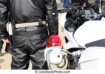 Back view of Japanese police motorcycle