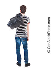 Back view of man in jeans with a bag on his shoulder.