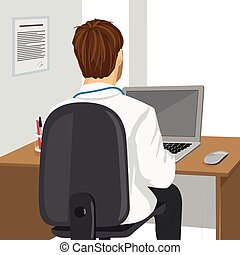 medical doctor using laptop in clinic - back view of medical...
