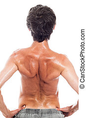 Back view of naked man