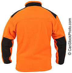 Back view of orange fleece male sport jacket with black parts isolated on white