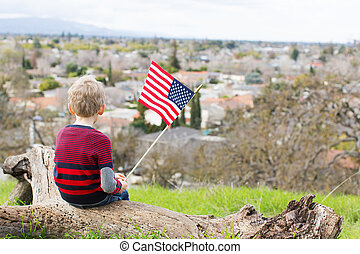 celebrating 4th of july - back view of patriotic boy holding...