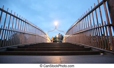 back view of people walking on The Ha'penny Bridge in Dublin