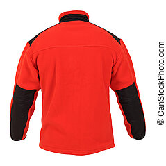 Back view of red fleece sport jacket isolated on white