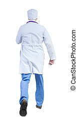 Back view of running doctor in a robe hurrying to help the patie
