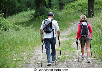 Back view of senior couple hiking in forest pathway
