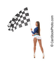 Back view of sexy brunette with checkered flag