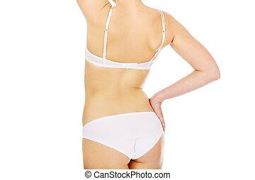 Back view of slim woman body