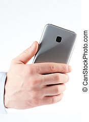 Back view of smartphone in hand