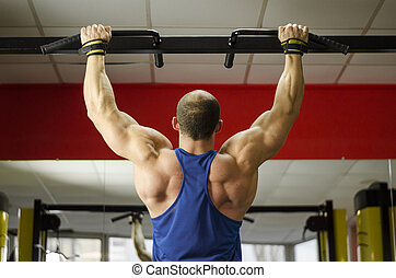 Back view of strong male athlete with perfect muscles training, doing exercises