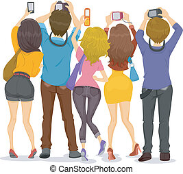 Back View of Teens with Cameras - Illustration showing Back...